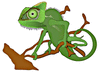 chameleon on twisted branch clip art