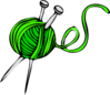 knitting needles and green yarn clip art