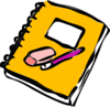 Note pad pencial and eraser clip art