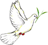 Dove with tea leaf clip art