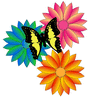 3 flowers with butterfly clip art