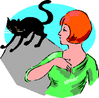 black cat crosses womans path clip art