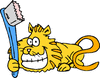 cat big grin toothbrush clip art