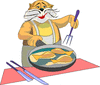 cat chef cooking fish clip art