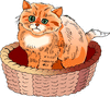 cat in a basket clip art