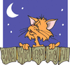 cat serenading moon by fence clip art
