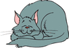 cat sleeping happily clip art