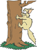 scared cat clinging to tree clip art