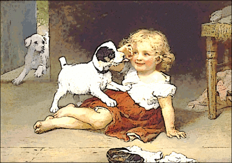 child w puppies