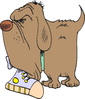 big dog with shoe clip art