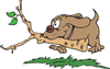 dog running with branch clip art