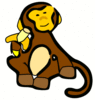 monkey w banana clip art