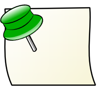note with green pin