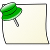 note with green pin clip art