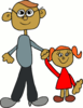 Dad holding daughters hand clip art