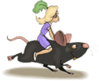 Girl Riding Mouse clip art