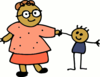 Mom holding childs hand clip art