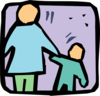 Parent and Child holding hands icon clip art