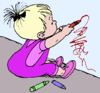 kid drawing on wall clip art