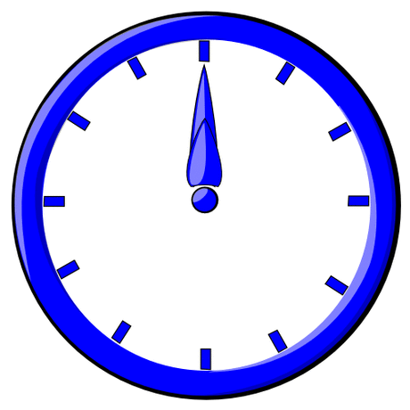 hour blue clock 12