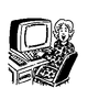woman on computer clip art