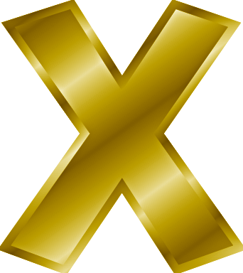 gold letter X