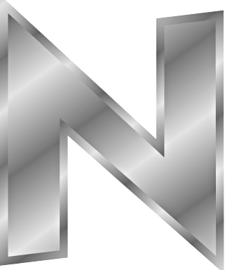 silver letter N