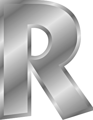 silver letter R