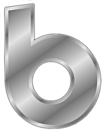 silver letter b