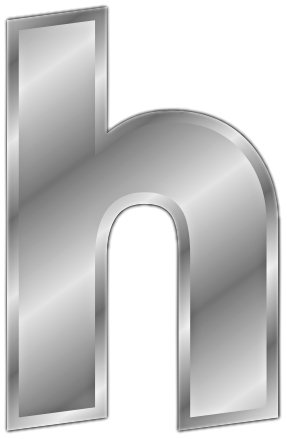 silver letter h