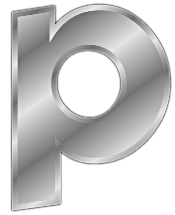 silver letter p