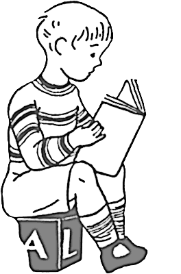 boy reading on block