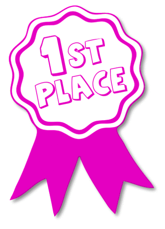 award ribbon pink 1st