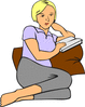 Woman Reading clip art