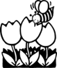 bee on tulips clip art