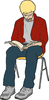 reading on student chair clip art
