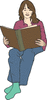 reading woman clip art