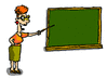 teacher pointing at blackboard clip art