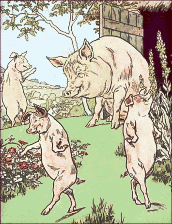 Three little pigs and mother