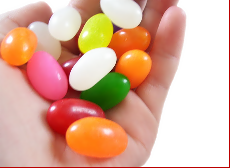 jelly beans in hand