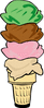 ice cream cone 4scoop clip art