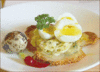 potato galettes with quail eggs clip art