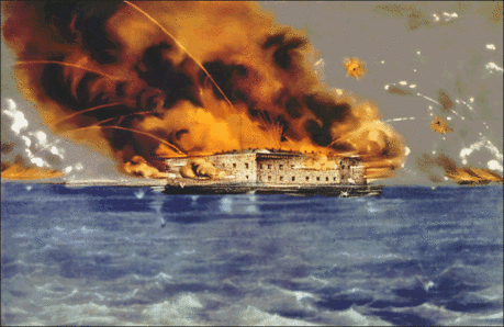 Battle bombardment of Fort Sumter