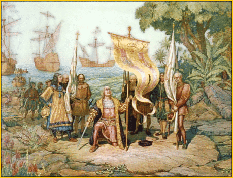 Columbus taking possession of the new country