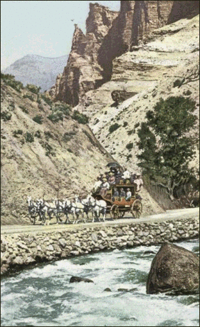 Postcard Stagecoach Yellowstone