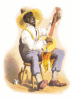 Stereotyping plantation banjo player clip art