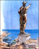 7 seven ancient wonders colossus of Rhodes clip art