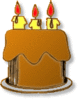 Birthday 3-candle-cake clip art