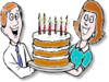 Birthday mom-dad-with-cake clip art