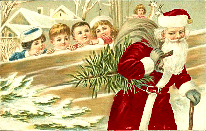 christmas kids watching santa
